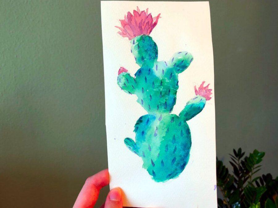 Aquarellbild Anfaenger Kaktus