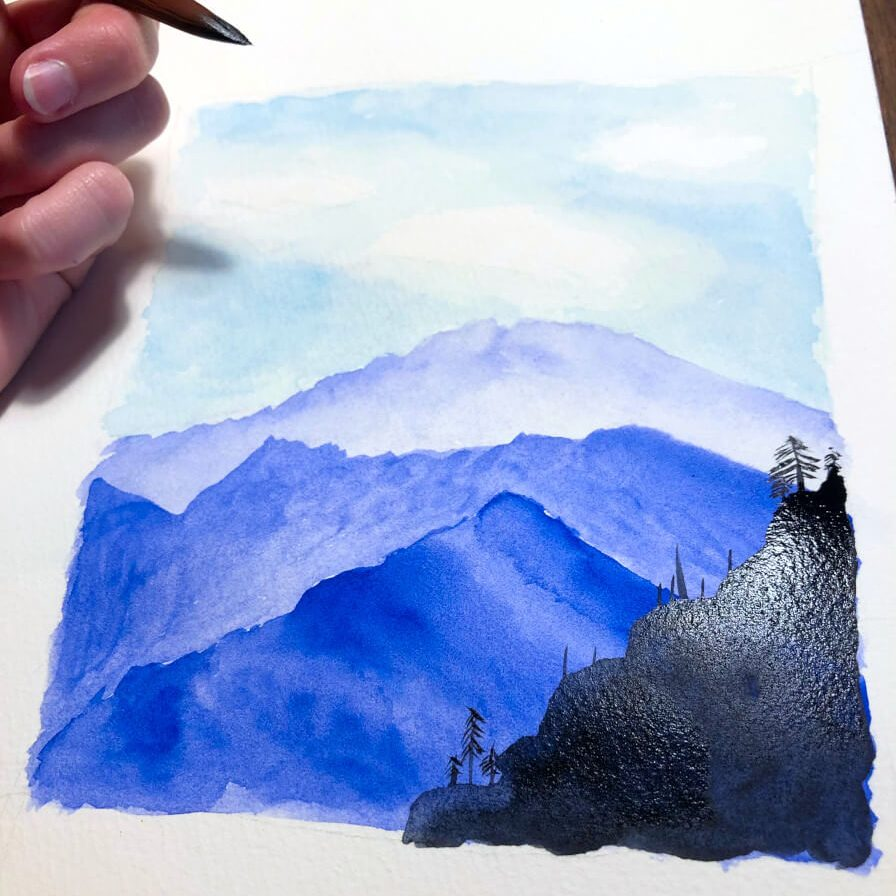 Aquarellbild Anfaenger Berg 5. Schritt