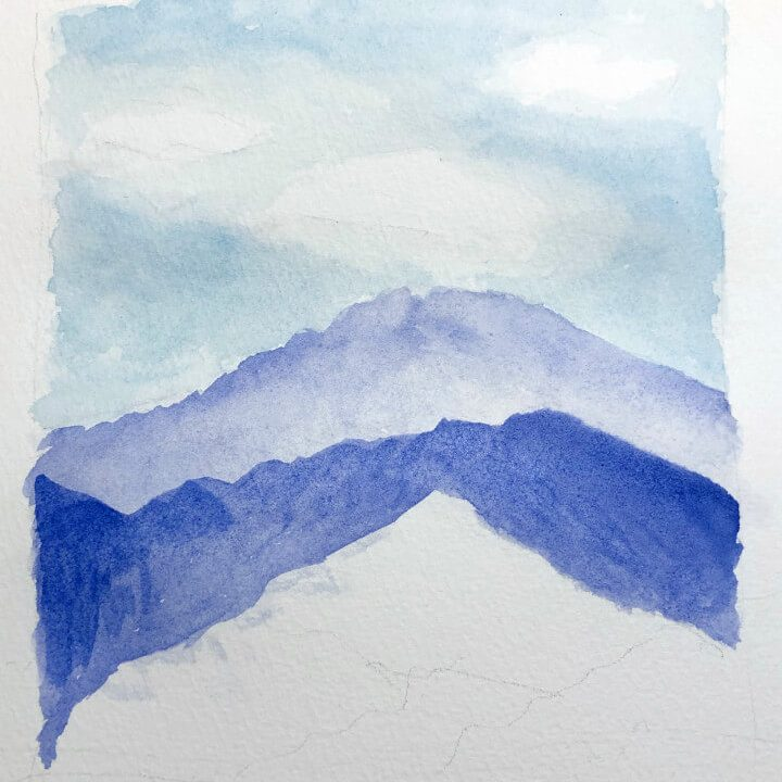 Aquarellbild Anfaenger Berg 2. Schritt