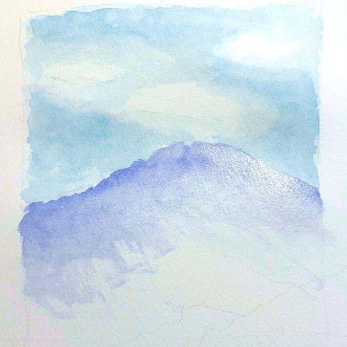 Aquarellbild Anfaenger Berg 1. Schritt