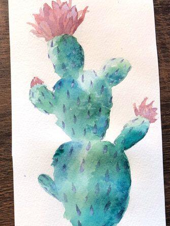 Aquarellbild für Anfänger Kaktus 8. Schritt
