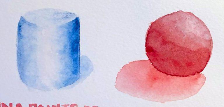 Übung für Aquarell Schatten malen