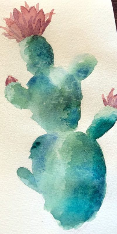 Aquarellbild für Anfänger Kaktus 6. Schritt