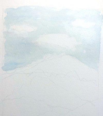 Aquarellbild Anfaenger Himmel 1