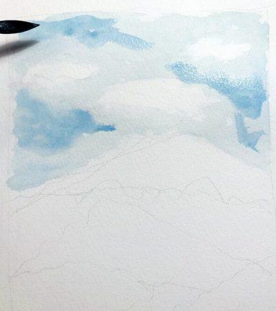 Aquarellbild Anfaenger Himmel 2