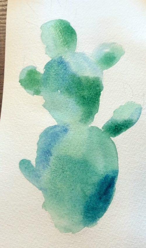 Aquarellbild für Anfänger Kaktus 3. Schritt