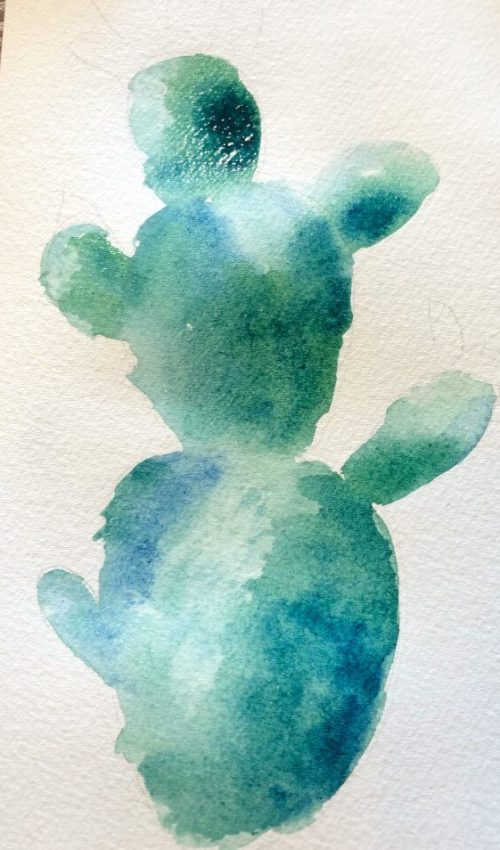 Aquarellbild für Anfänger Kaktus 4. Schritt