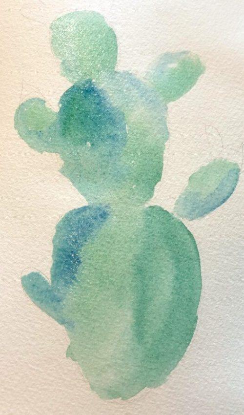 Aquarellbild für Anfänger Kaktus 2. Schritt